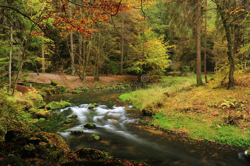 Autumn colors river. Autumn colored trees, leaves, rocks around the beautiful river royalty free stock photos