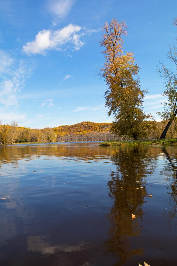 Fall bright day on a Minnesota river stock photography
