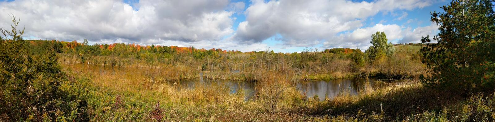 Autumn colors in Rouge National Urban Park. Panoramic of autumn colors in Rouge National Urban Park in Toronto, Ontario, Canada royalty free stock photo