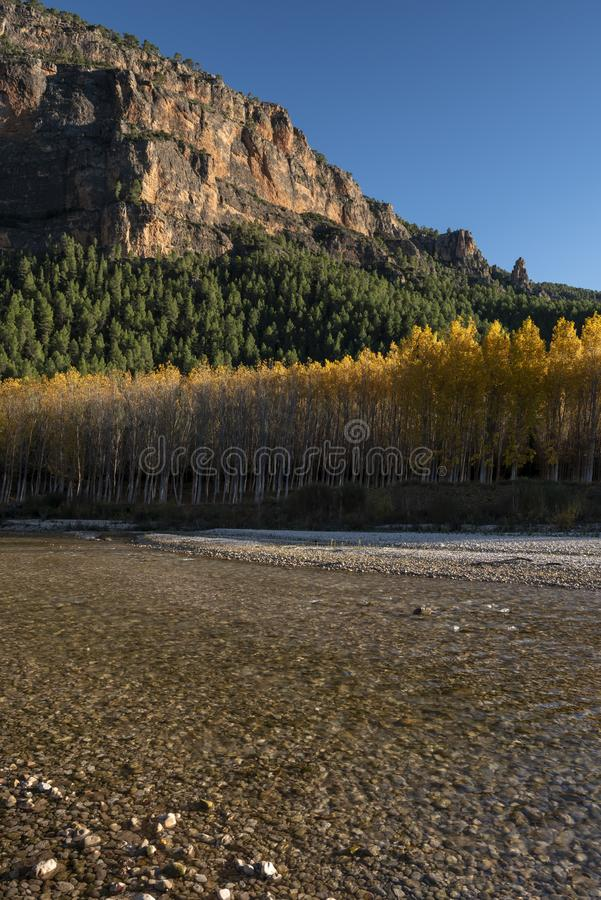 Autumn colors in Segura river, Sierra de los Molares, Yeste. Albacete province, Castilla-La Mancha. Spain royalty free stock images