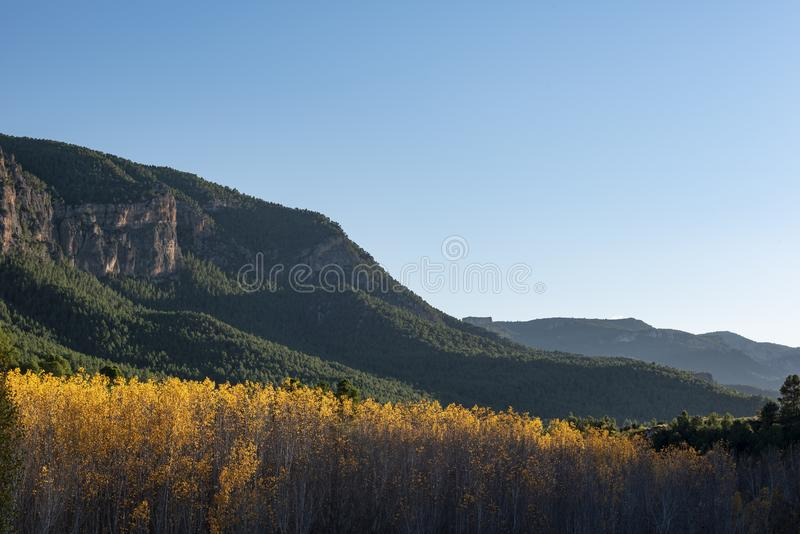 Autumn colors in Segura river, Sierra de los Molares, Yeste. Albacete province, Castilla-La Mancha. Spain stock images