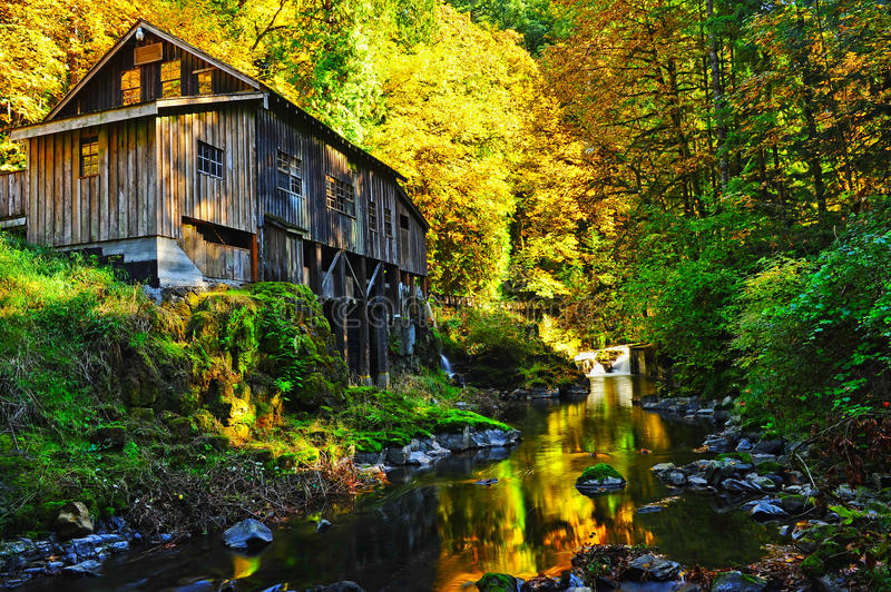 Autumn Colors Surround This Old Mill Stock Photography