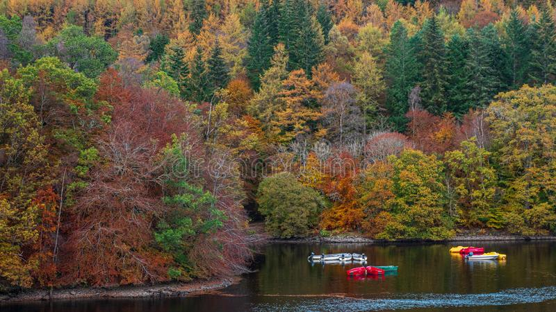 Autumn colours at Loch Faskally at Pitlochry, Scotland stock photo