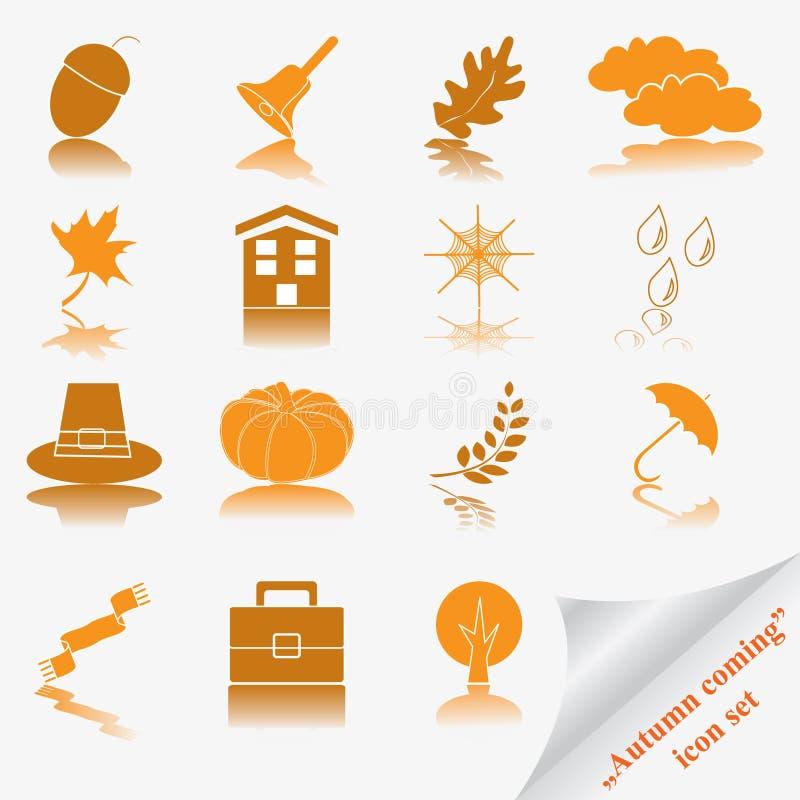 Autumn coming soon icon set stock illustration