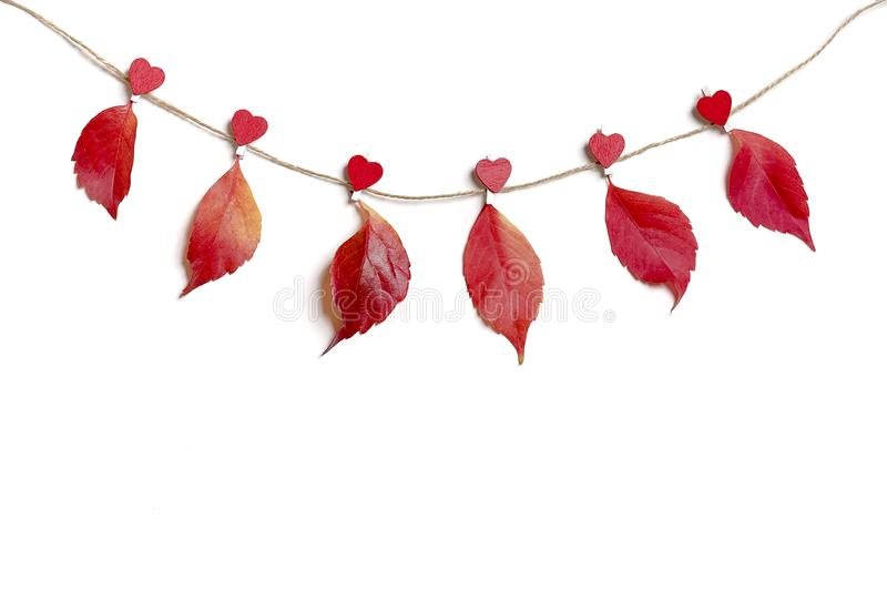 Autumn composition. Autumn leaves attached with heart shaped clothespins on a rope on white background Flat lay royalty free stock photos