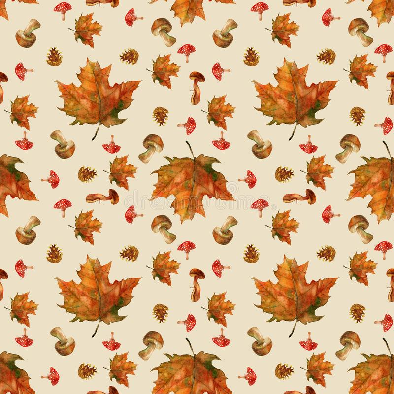 Autumn composition with beautiful leaves royalty free illustration