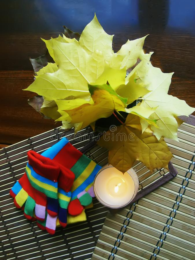 Autumn composition with bouquet of maple fall leaves, striped knitted gloves and burning candle on the table stock photos