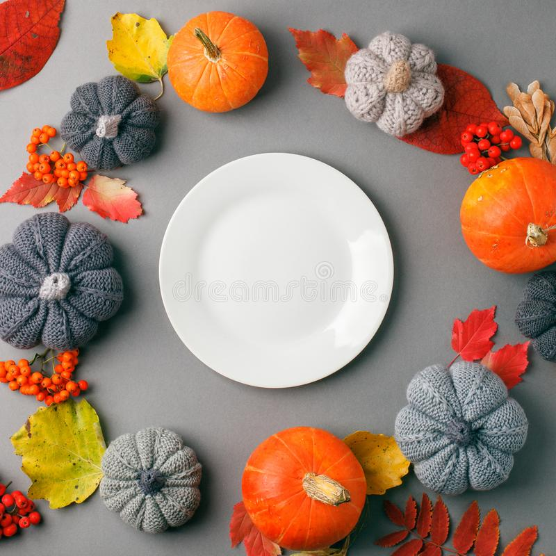 Autumn composition concept background. Decorative pumpkin, bright leaves. Flatlay background, Thanksgiving table, empty plate, royalty free stock photography
