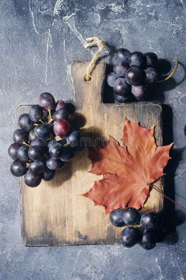 Autumn composition with cutting wooden board, marple leaves, freshly harvested ripe grapes, cones and wallnuts on dark stone table royalty free stock photo