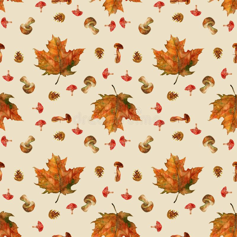 Autumn composition with beautiful leaves stock illustration