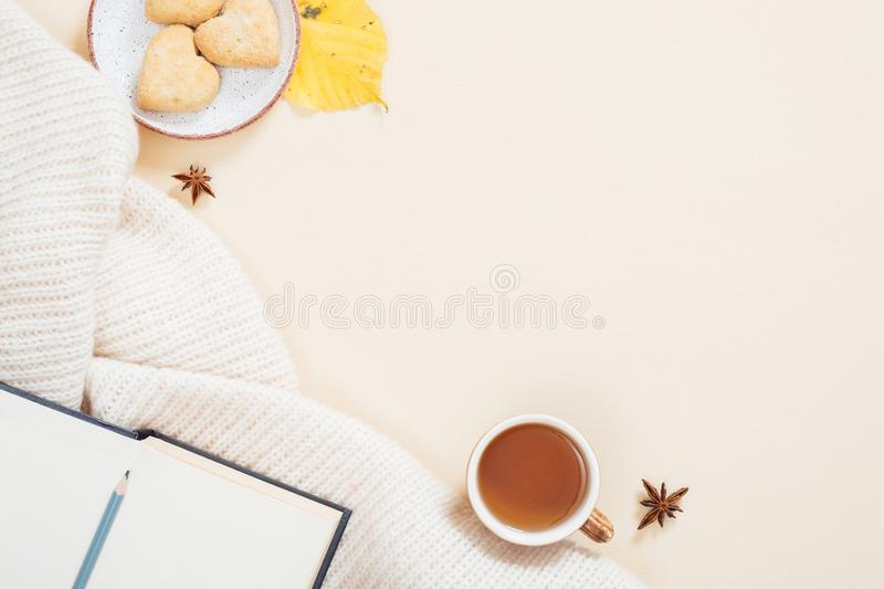 Autumn composition. White knitted plaid, cup of tea, book with empty pages, cookies, fallen leaves on pastel beige background. royalty free stock photos