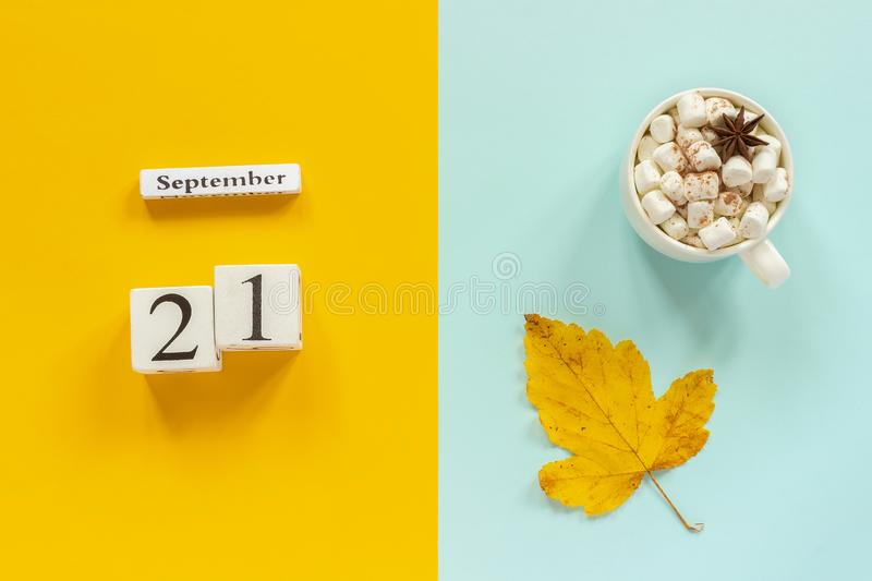 Autumn composition. Wooden calendar September 21, cup of cocoa with marshmallows and yellow autumn leaves on yellow blue royalty free stock photo