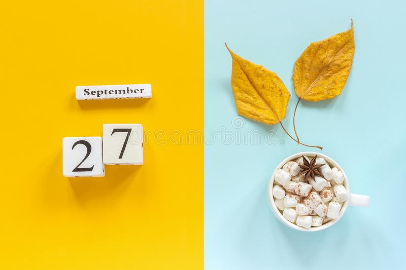 Autumn composition. Wooden calendar September 27, cup of cocoa with marshmallows and yellow autumn leaves on yellow blue stock images
