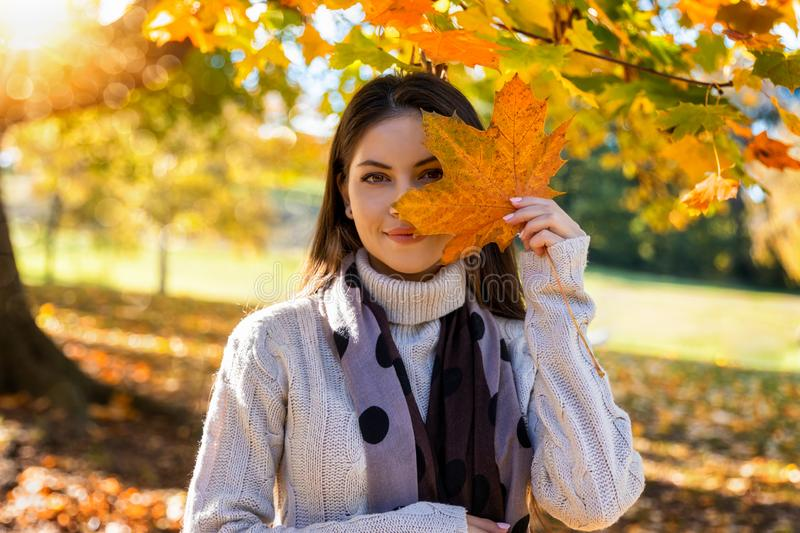 Woman in a park holds a big leaf in front of her face royalty free stock images