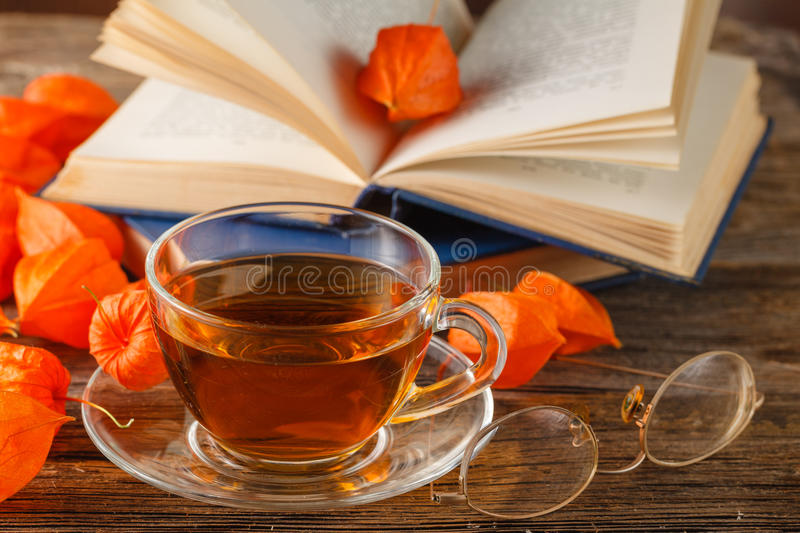 Autumn concept with autumn still life -old books among the autumn leaves and bright sunlight.Autumn retro still life with dry royalty free stock image