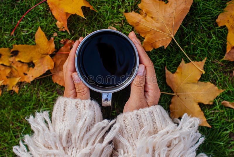 Autumn concept. Beautiful woman wearing white sweater with coffee mug sitting against fall nature background. stock photo