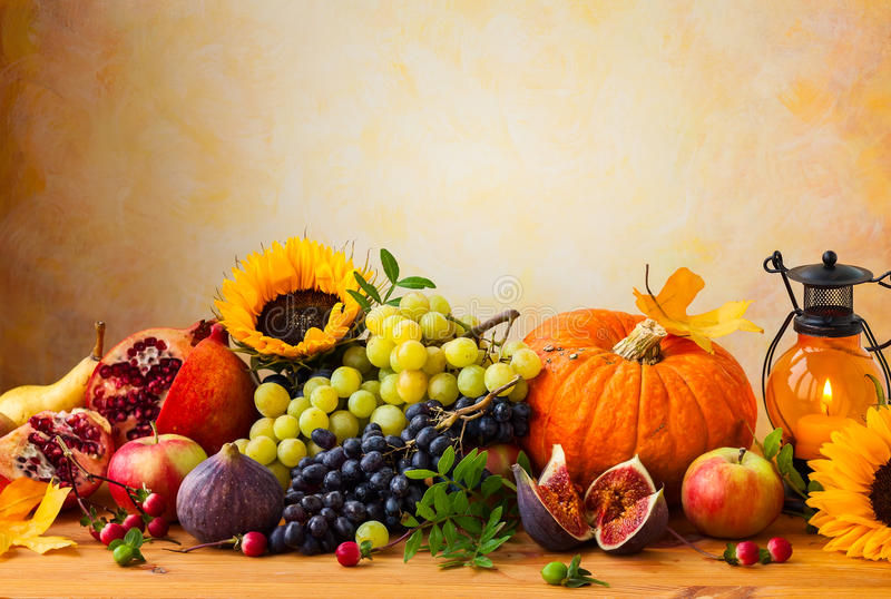 Autumn concept. With flowers,pumpkin and seasonal fruits stock photo