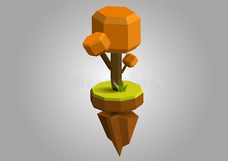 Autumn Conceptual polygonal geometric tree. Abstract vector Illustration, low poly style. Stylized design element. Background vector illustration