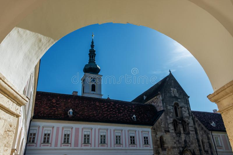 Archway and Inner Yard of the monastery of Heiligenkreuz. Pope, catholic. royalty free stock images
