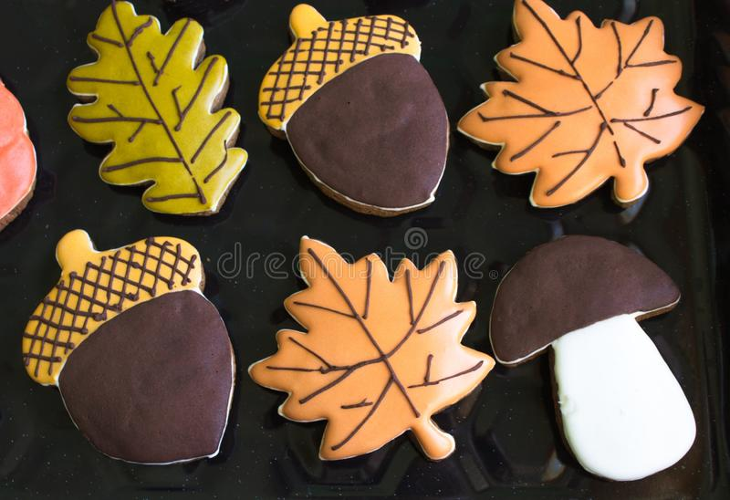 Autumn cookies in the form of acorns and leaves of trees royalty free stock photography