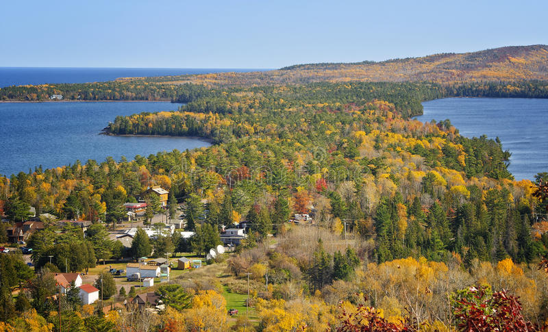 Autumn, Copper Harbor, Michigan. A panoramic view of the changing colors of the leaves of the forest trees in the fall season in Copper Harbor, Keweenaw stock image