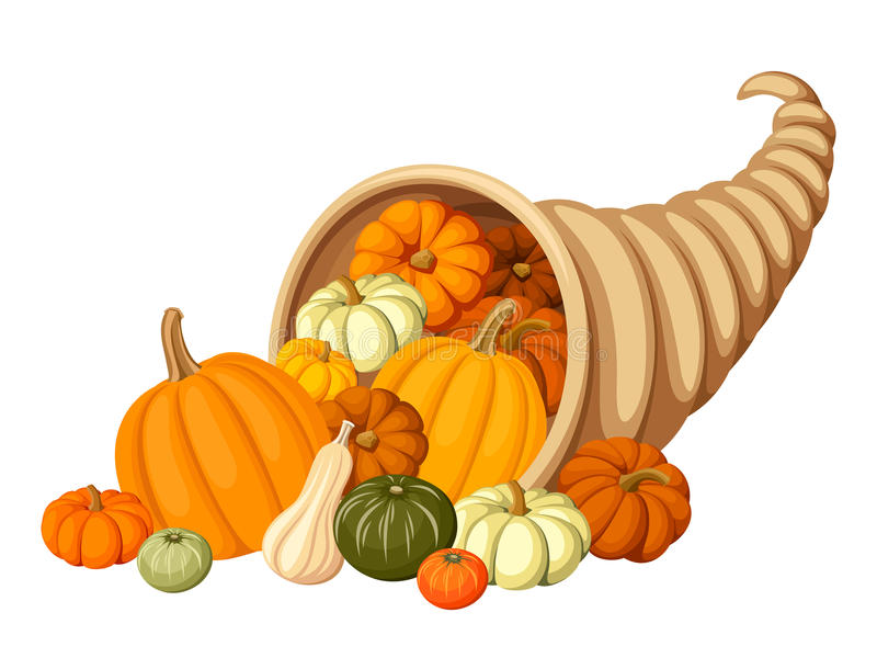Autumn cornucopia (horn of plenty) with pumpkins. Vector illustration. Vector autumn cornucopia with various pumpkins isolated on white royalty free illustration
