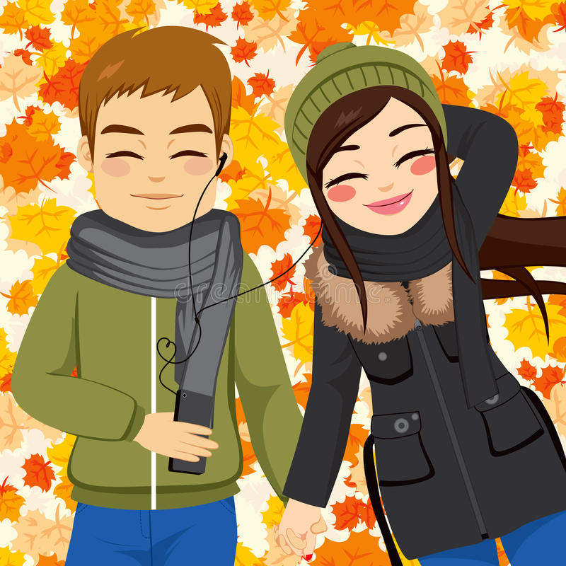 Autumn Couple Listening Music royalty-vrije illustratie