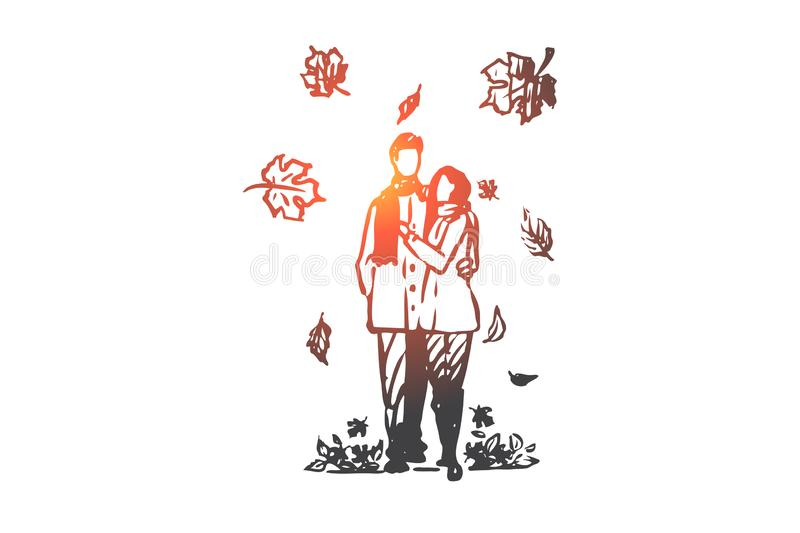 Autumn, couple, love, fall, romantic concept. Hand drawn isolated vector. stock illustration