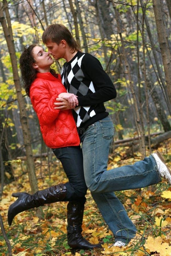 Autumn couple portrait stock photo
