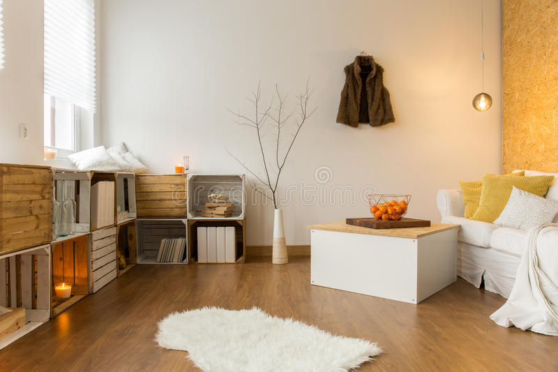 Autumn in cozy living room royalty free stock image