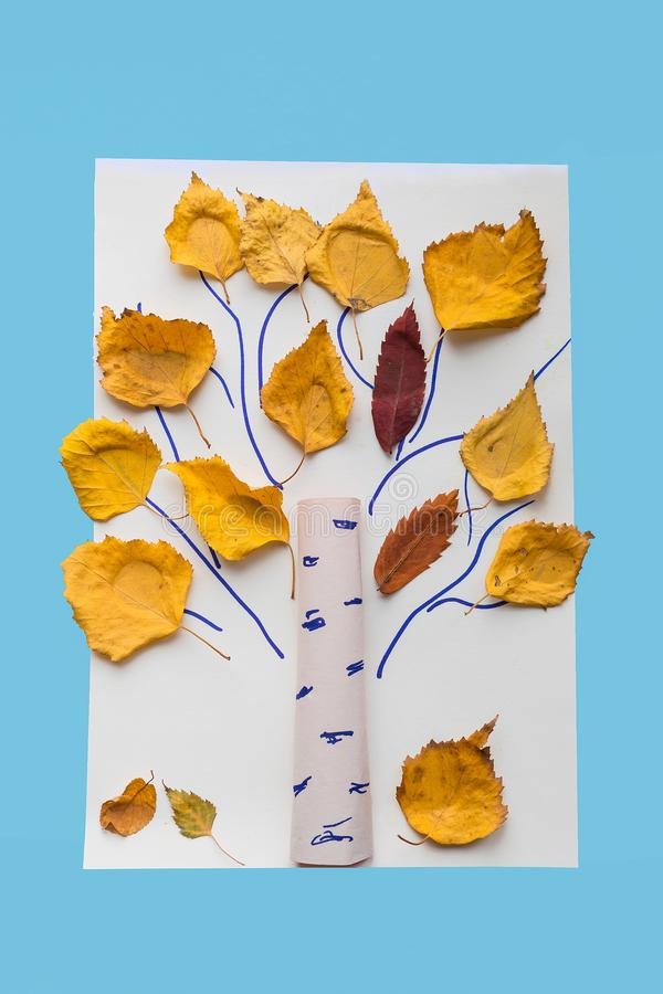 Autumn crafts for kids. Children`s fall crafts made from autumn royalty free stock photos