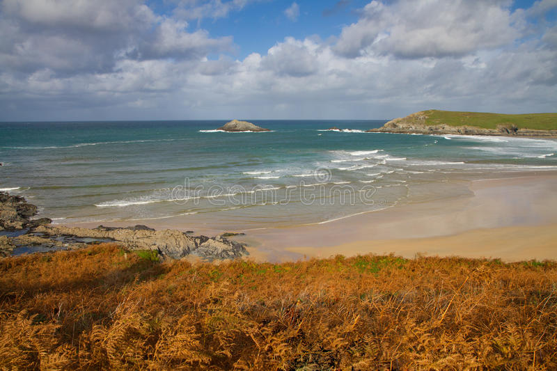 Autumn at Crantock bay Cornwall coast England royalty free stock images