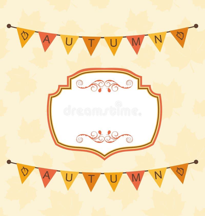 Autumn Cute Frame con gli stendardi della stamina illustrazione vettoriale