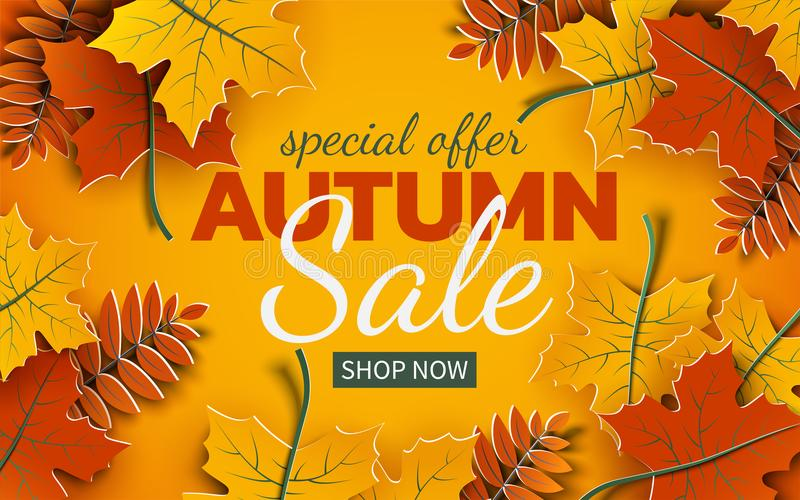 Autumn 3d sale banner, paper colorful tree leaves on yellow background. Autumnal design for fall season sale banner. Special offer poster, flyer, web site vector illustration