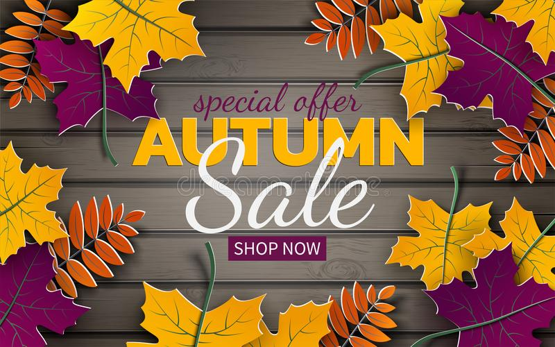 Autumn 3d sale banner, paper frame, colorful tree leaves on wooden background. Autumnal design for fall season card, sale banner royalty free illustration