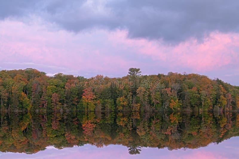 Autumn, Dawn Reflections Pete`s Lake royalty free stock photos