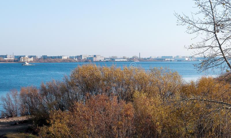 Autumn day in Arkhangelsk. View of the river Northern Dvina and river port in Arkhangelsk. Autumn day in Arkhangelsk. View of the river Northern Dvina and stock images
