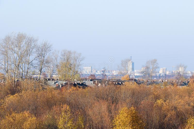Autumn day in Arkhangelsk. View of the river Northern Dvina and river port in Arkhangelsk. Autumn day in Arkhangelsk. View of the river Northern Dvina and stock photography