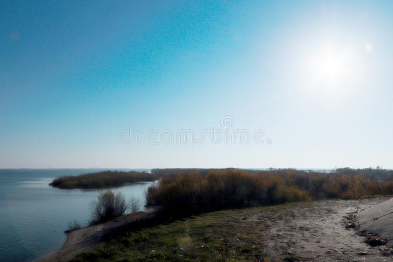 Autumn day in Arkhangelsk. View of the river Northern Dvina and river port in Arkhangelsk. Autumn day in Arkhangelsk. View of the river Northern Dvina and royalty free stock photo