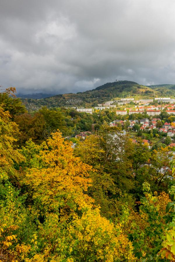 Autumn day in the colourful Thuringian Forest - Suhl/Germany. September 2019 stock image