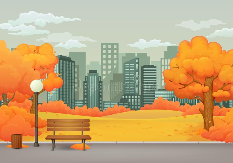 Autumn day park scene. Bench with trash can and street lamp on a park trail with trees and bushes. Cityscape with skyscrapers. stock illustration
