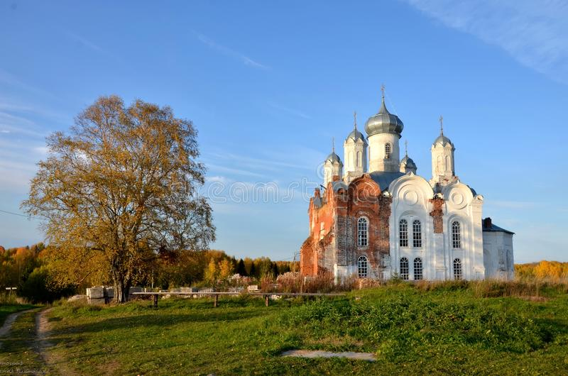 Autumn day. The post of the monk San Christopher was solved by a postal login and a disciple of the monk, a man of The koryazhemsky monastery, ten years after stock photo