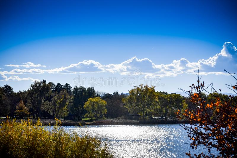 Autumn day at Rocky Mountain Lake park royalty free stock images