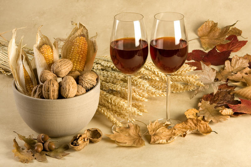 Autumn decor with wine royalty free stock photography