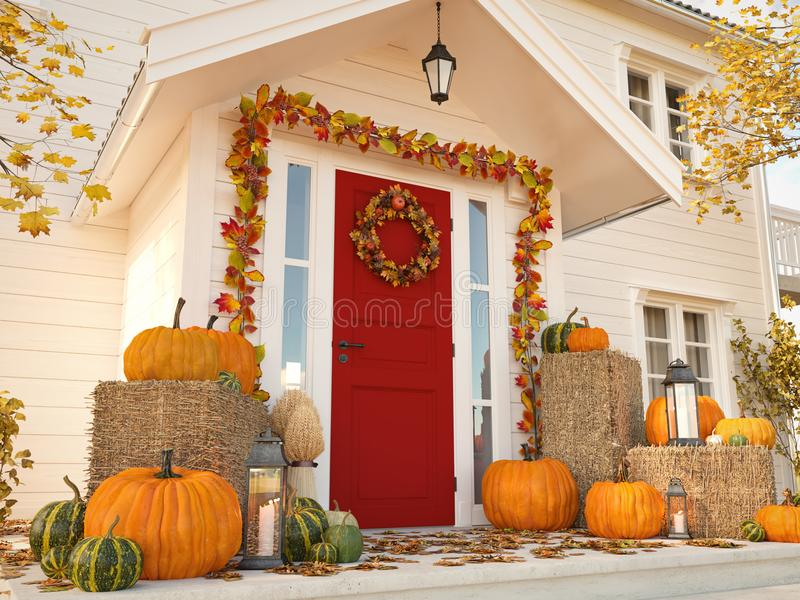 Autumn decorated house with pumpkins and hay. 3d rendering stock photography