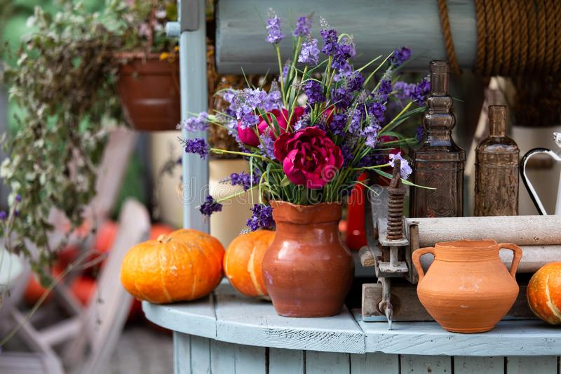 Autumn decoration with pumpkins royalty free stock images