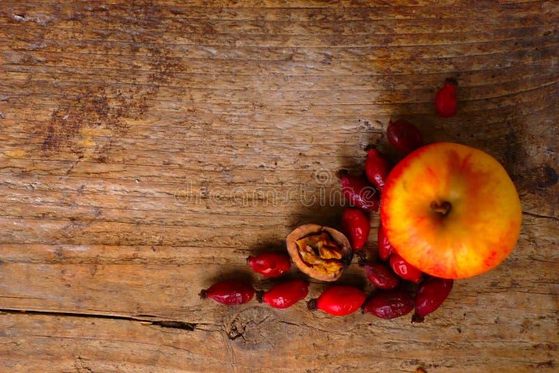 Autumn Decoration On Wood Background stock image