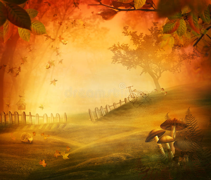 Autumn design - Mushroom valley. Fall meadow with mushrooms, fence, tree in forest and hedgehog.Falling leaves and bird house in the background. Space for your