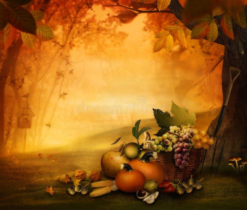 Autumn design - Season fruit stock illustration