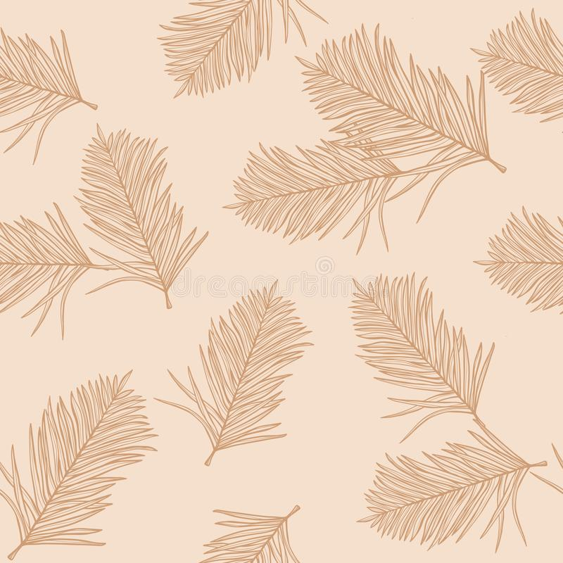 Autumn design. Trendy seamless pattern with l leaves  on a pastel background. Vector design. Jungle print. Floral background. Printing and textiles. Exotic stock illustration